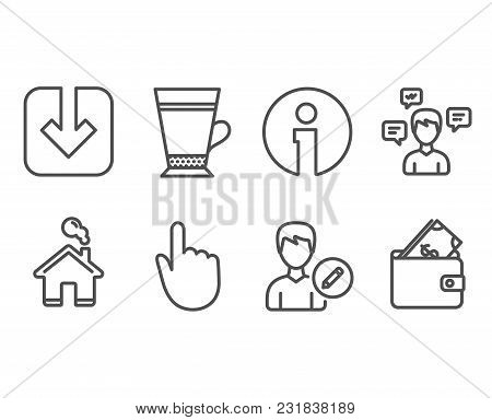 Set Of Hand Click, Latte And Load Document Icons. Conversation Messages, Edit Person And Wallet Sign