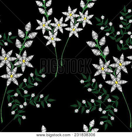 Seamless Pattern With Embroidery Stitches Imitation Fashion Pattern With Folk Flower. Floral Embroid