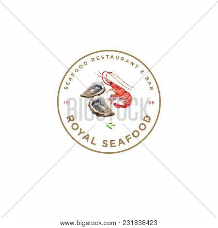 Seafood Restaurant Logo. Red Prawn And Oysters Emblem. Watercolor Illustration.