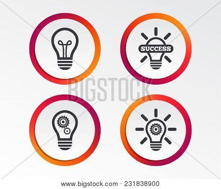 Light Lamp Icons. Lamp Bulb With Cogwheel Gear Symbols. Idea And Success Sign. Infographic Design Bu