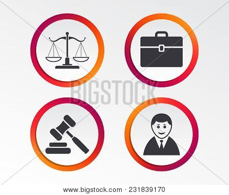 Scales Of Justice Icon. Client Or Lawyer Symbol. Auction Hammer Sign. Law Judge Gavel. Court Of Law.