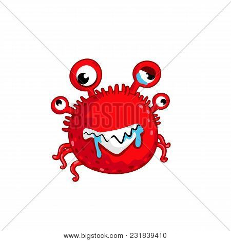 Cartoon Virus Character Isolated Vector Illustration On White Background. Cute Fly Germ Virus Infect