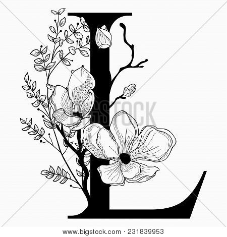 Vector Hand Drawn Floral L Monogram Or Logo. Uppercase Letter L With Flowers And Branches. Cherry Bl