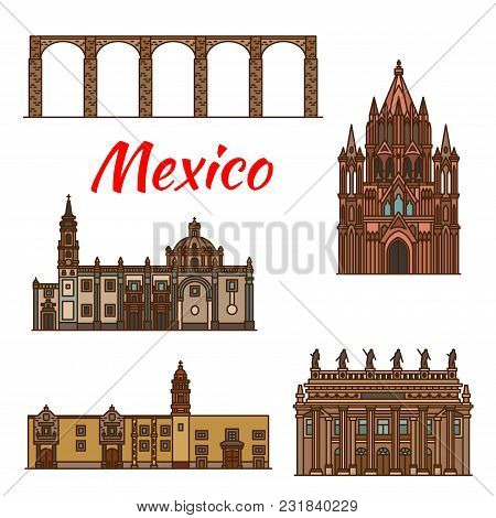 Mexico Architecture Landmarks And Famous Buildings Facade Line Icons. Vector Set Of Mexican Aqueduct