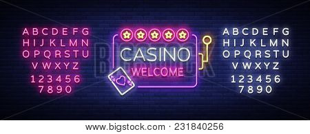 Casino Welcome Logo In Neon Style. Design Template. Neon Sign, Light Banner, Neon Billboard Bright L