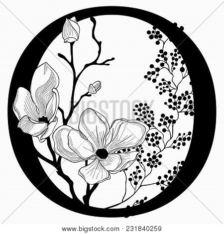 Vector Hand Drawn Floral O Monogram Or Logo. Uppercase Letter O With Flowers And Branches. Cherry Bl