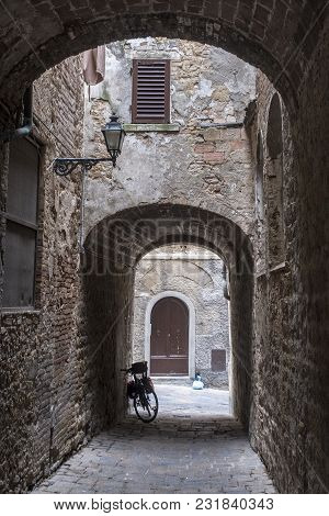 Volterra, Pisa, Tuscany, Italy, View Of The Historic City. Typical Street
