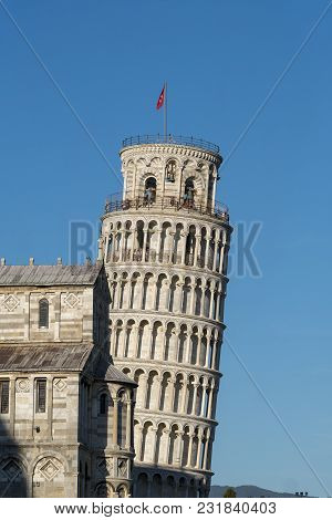 Pisa, Tuscany, Italy: The Famous Piazza Dei Miracoli, With The Cathedral, The Baptistery And The Lea