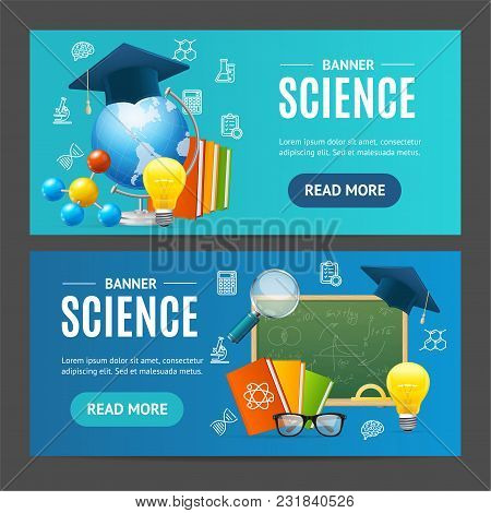 Science Banner Realistic Detailed 3d Horizontal Set Include Of Loupe, Glass And Light Bulb. Vector I