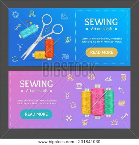 Sewing And Needlework Tools Banner Realistic Detailed 3d Horizontal Set Include Of Pin And Scissor.