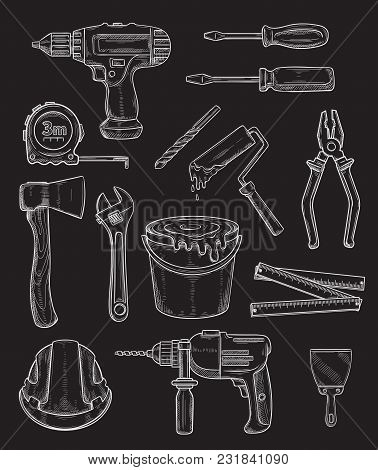 Repair Work Tools Chalk Sketch Icons For Home Repair Or Renovation. Vector Construction Tools, Carpe