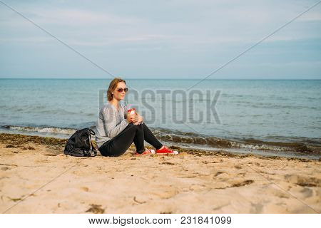A Girl With A Short Haircut By The Sea. Portrait