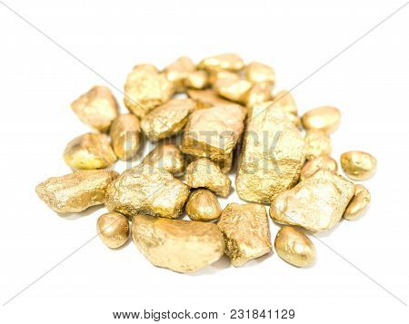 Macro Group Of Gold Ore In The Boulder , Precious Stone