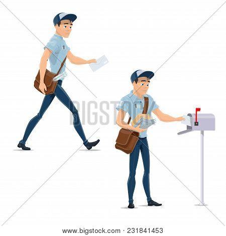 Postman At Work Delivering Letter Envelopes To Postbox. Vector Mailman Man In Uniform With Messenger
