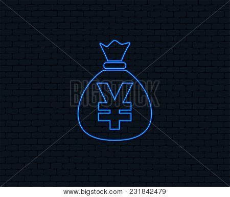 Neon Light. Money Bag Sign Icon. Yen Jpy Currency Symbol. Glowing Graphic Design. Brick Wall. Vector