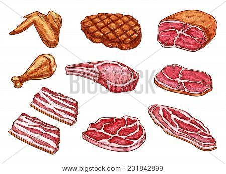 Butchery Meat And Delicatessen Sketch Color Icons. Vector Isolated Set Of Beefsteak Grill Or Bbq Por