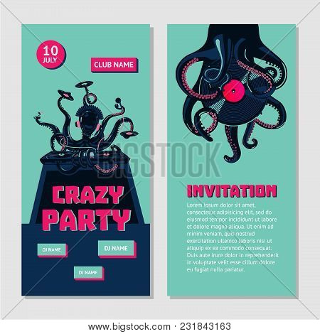Octopus Dj With Turntable. Dance Party Invitation For Nightclub With Vinyl Record. Hip-hop Music Bat
