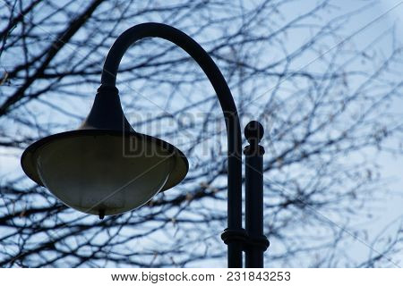Street Lantern In Sunny Day, Turned Off, Urban Background.