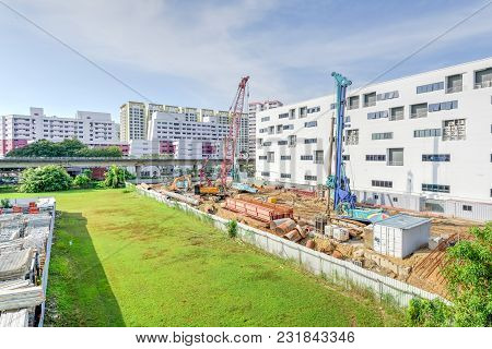 Construction Site With Foundation, Ground Works In Progress At Eunos, Singapore