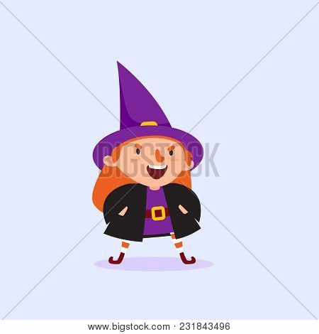 Halloween Witch Gets Angry And Says With His Hands In The Pockets Girl In The Witch Costume Funny Ch