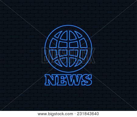 Neon Light. News Sign Icon. World Globe Symbol. Glowing Graphic Design. Brick Wall. Vector