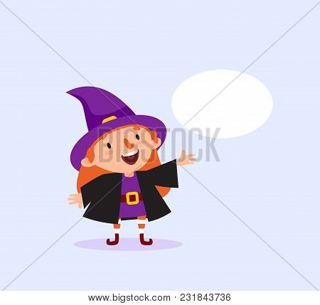 Halloween Witch With Bubble For Text Girl In Witch Costume Smiling Funny Character Isolated Element