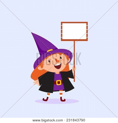 Halloween Witch Holding A Poster With Place For Text In Hand Girl In Witch Costume Funny Character I