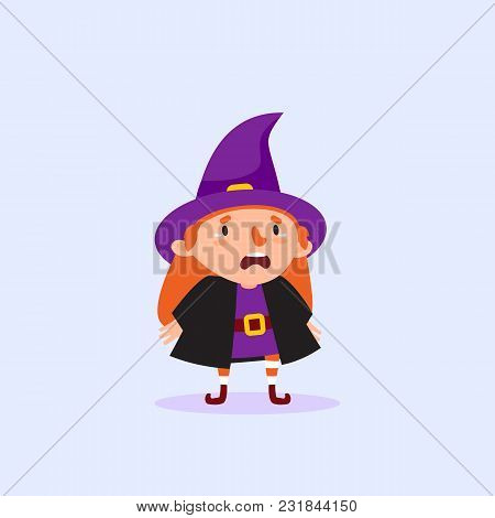 Halloween Witch Cries Funny Character Girl In Witch Costume Isolated Element From The Set For Festiv