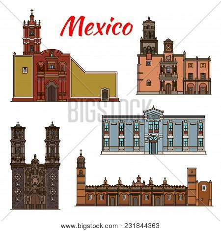 Mexico Architecture Landmarks And Famous Buildings Facade Line Icons. Vector Set Of Mexican Cathedra