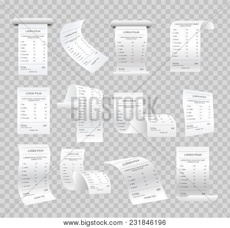 Vector Illustration Set Of Realistic Paper Checks, Bills, Various Receipts And Printed Bills On Tran