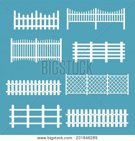 Vector Illustration Set Of Different Fences White Color. Rural Silhouettes Wooden Fences, Pickets Ve