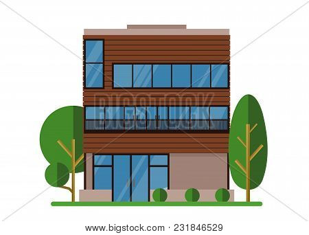 Vector Illustration Of Beautiful Modern Real Estate House. Family Dream Home With Trees. Architect B