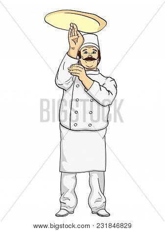 Man Cook Pizza. Chef Tossing Pizza Dough. Comic Book Style Imitation. Vintage Retro Style. Conceptua