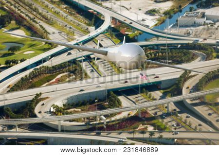 3d Rendering Of A Drone Surveilling Traffic Over The Freeway