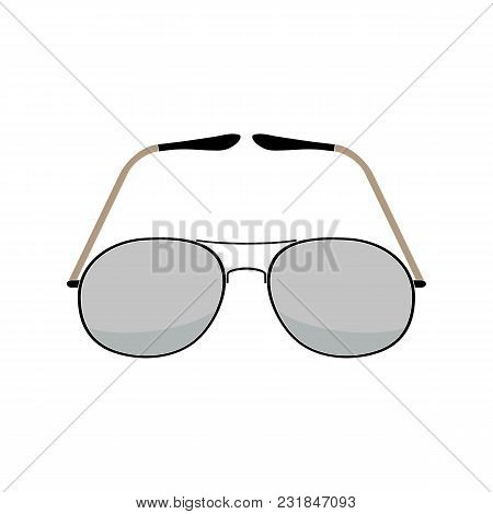 Vector Illustration Of Aviator Sunglasses On A White Background. Vintage Fashion. Flat Style.