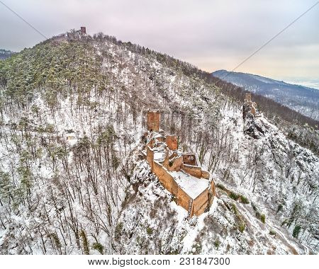 Castles Of Saint Ulrich, Girsberg And Haut-ribeaupierre In The Vosges Mountains Near Ribeauville. Ha