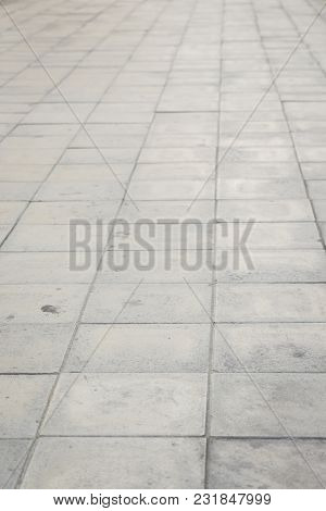 Perspective Pattern Of Square Pavement Street Floor, Shadow Depth Of Field.