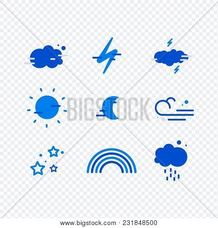 Weather Simple Icons Set For Web And Mobile Design. Mega Pack Of Weather Icons. All Icons For Weathe