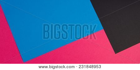 Colorful Papers Geometry Flat Composition Banner Background. Top View
