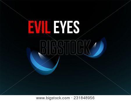 Blue Evil Eyes On Black Background, Vector Illustration