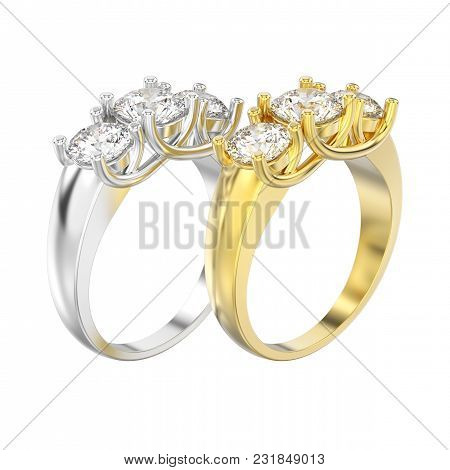 3d Illustration Isolated Two Yellow And White Gold Three Stone Diamonds Rings On A White Background