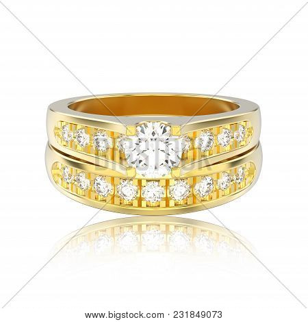 3d Illustration Isolated Yellow Gold Two Shanks Decorative Diamond Ring With Reflection On A White B