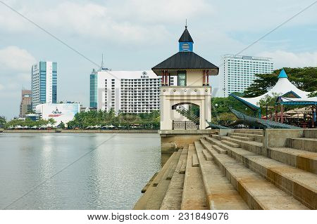Kuching, Malaysia - August 26, 2009: View To The Riverside And Modern Hotels Buildings In Kuching, M