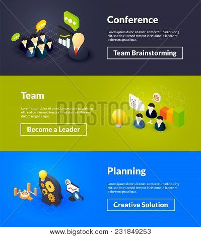 Conference Team And Planning Banners Of Isometric Color Design, Concepts Vector Illustration For Web