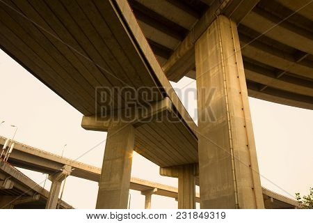 Low Angle View Of An Overpass In Shanghai, China, Asia