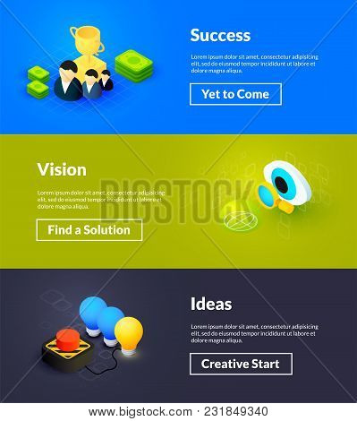 Success Vision And Ideas Banners Of Isometric Color Design, Concepts Vector Illustration For Web Pos