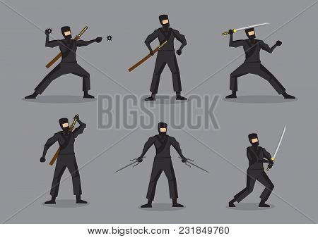 Set Of Six Vector Illustration Of Japanese Ninja In Black Suit And Mask Holding Different Weapons. C