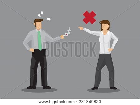 Cartoon Woman Telling Off Coworker Who Is Smoking A Cigarette. Vector Illustration Of No Smoking Con