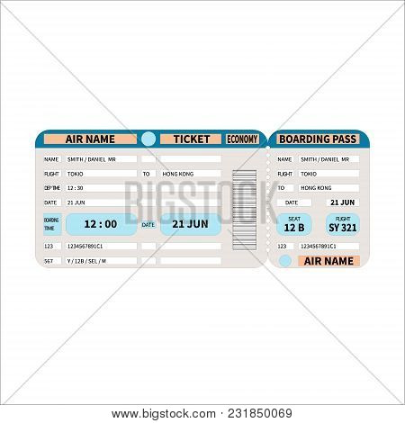 Pattern Of A Boarding Pass And Air Ticket With Barcode. Modern Ticket Concept For Air Travel. Vector