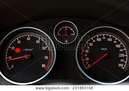 Car Dashboard. Tachometer, Speedometer And Fuel